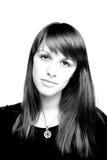 Zwart-wit portret van het meisje Stock Afbeelding