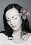 Zwart-wit portret van jonge vrouw Royalty-vrije Stock Foto
