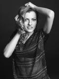 Zwart-wit portret van meisje Stock Foto's