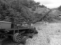 Zwart-wit railcar landschap Stock Fotografie