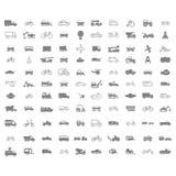 Zwart-wit reeks met vectorvervoerpictogrammen royalty-vrije illustratie