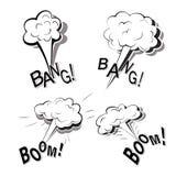 Zwart-wit reeks vlakke beeldverhaalkrabbels met vier krachtige grote die explosies op een witte achtergrond met het van letters v stock illustratie