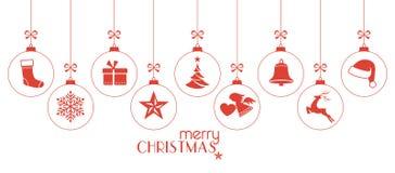 Zwart-wit rode Kerstmissnuisterijen, Kerstmisornamenten Royalty-vrije Stock Fotografie