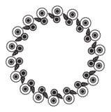 Zwart-wit rond kader met abstracte bloemsilhouetten stock illustratie