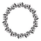 Zwart-wit rond kader met abstracte bloemsilhouetten royalty-vrije illustratie