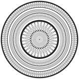 Zwart-wit rond ornament Decor vectorelement, zwart-witte illustratie, mandala Royalty-vrije Stock Afbeelding