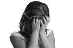 Zwart-wit schot van een droevig meisje Royalty-vrije Stock Foto's