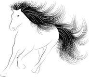 Zwart-wit silhouetpaard Royalty-vrije Stock Afbeelding