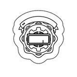 Zwart-wit silhouetsticker met pignon tussen cirkelvormen en lint royalty-vrije illustratie