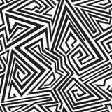 Zwart-wit spiraalvormig lijnen naadloos patroon Stock Foto