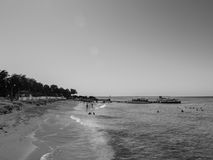 Zwart Wit Strand de Caraïben Royalty-vrije Stock Foto