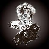 Zwart-wit Sugar Skull Woman royalty-vrije illustratie