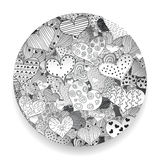 Zwart-wit Valentine Day Pattern Sketch Romantic-Retro de Krabbelspictogrammen van Liefdeharten Geplaatst Geïsoleerde Vectorillust Stock Afbeelding