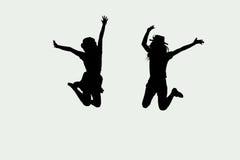 zwart-wit van springende meisjes Royalty-vrije Stock Afbeeldingen