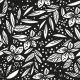 Zwart-wit vector vector naadloos mooi artistiek tropisch patroon met tropisch blad, de zwarte pret van het de zomerstrand, vector illustratie