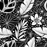 Zwart-wit vector vector naadloos mooi artistiek tropisch patroon met tropisch blad, de zwarte pret van het de zomerstrand, royalty-vrije illustratie