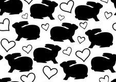 Zwart-wit vector naadloos patroon met konijnen en harten Stock Afbeelding