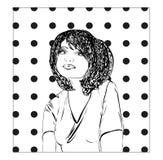 Zwart-wit vectorillustratie van een jonge vrouw, meisjesschets Royalty-vrije Stock Afbeeldingen