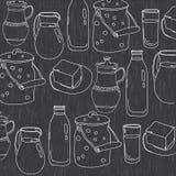 Zwart-wit vectorillustratie van werktuigen voor zuivelproducten Stock Foto