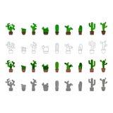 Zwart-wit vectorpictogrammen met cactus stock illustratie
