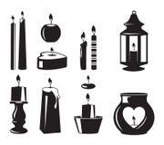Zwart-wit vectorsymbolen van kaarsen voor verjaardagspartij royalty-vrije illustratie