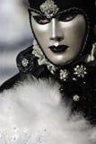 Zwart-wit Venetiaans masker Stock Foto