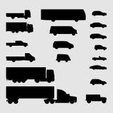 Zwart-wit voertuigpictogrammen Stock Fotografie