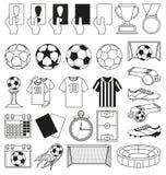 Zwart-wit voetbal 28 geplaatste elementen Stock Afbeeldingen