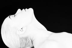 zwart-wit vrouwengezicht royalty-vrije stock fotografie