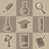 Zwart-wit wetenschapspictogrammen Royalty-vrije Stock Afbeelding