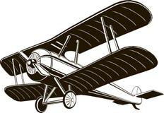 Zwart-wit zwarte grafische de illustratievector van het tweedekker retro vliegtuig stock illustratie