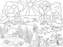 Zwart-witte Aard van het beeldverhaal de kleurende boek Open plek in het bos met installaties Royalty-vrije Stock Afbeelding