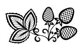 zwart-witte abstracte aardbei met bladeren Royalty-vrije Stock Fotografie