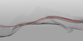 Zwart-witte abstracte samenstelling van punten en lijnen met een rode centrale lijn stock fotografie