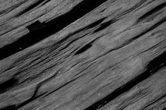 Zwart-witte achtergrond van de barst de harde houten plank Stock Fotografie