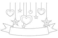 Zwart-witte affiche - lint, harten en sterren Royalty-vrije Stock Fotografie
