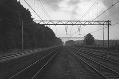 Zwart-witte atmosferische spruit van de spoorwegsporen stock foto's