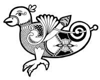 Zwart-witte authentieke Keltische vogel royalty-vrije illustratie
