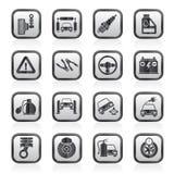 Zwart-witte auto en weg de dienstenpictogrammen Royalty-vrije Stock Afbeeldingen