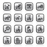 Zwart-witte auto en weg de dienstenpictogrammen Stock Afbeeldingen