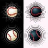Zwart-witte baseballs stock illustratie