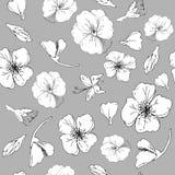 Zwart-witte bladeren en rode papaver op een grijze illustratie als achtergrond Naadloos patroon vector illustratie