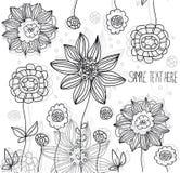 Zwart-witte bloemen Stock Afbeeldingen