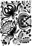 Zwart-witte bloemen. Modieus retro ornament. ontwerp element Stock Afbeeldingen