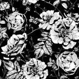 Zwart-witte Bloemen Naadloze Achtergrond Royalty-vrije Stock Fotografie
