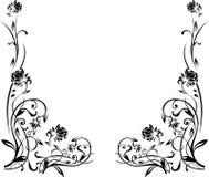 Zwart-witte bloemengrens Royalty-vrije Stock Foto's