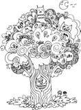 Zwart-witte boom met uilen Stock Afbeelding