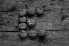 Zwart-witte Brief E van okkernoten Royalty-vrije Stock Foto
