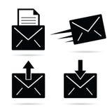 Zwart-witte brievenenvelop Royalty-vrije Stock Foto's