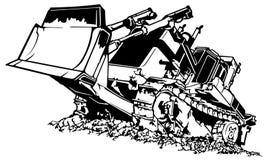Zwart-witte Bulldozer stock illustratie